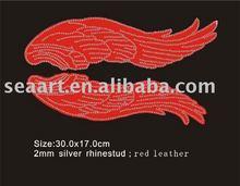 Angle wing satin fabric&rhinestone heat transfer template