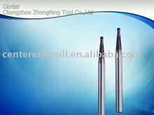 Ultra-fine micro grain long shank taper neck ball nose cutting tool