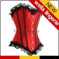 wella contrastanti linee raso pizzo lingerie sexy corsetto rosso prom abiti tutù per le donne