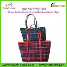 Classic Scotland Lattice Handbags Women Bags Ladies Canvas Bag With Leather Trim