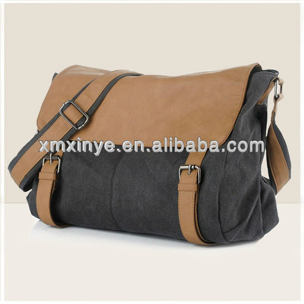 2013 new arrvial men canvas messenger bag with PU leather flap decoration