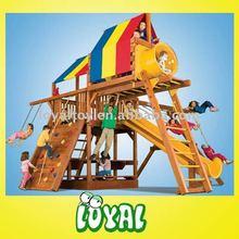 Happy wooden children's swing