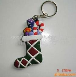 (Christmas Gift )stocking shape keychain/soft pvc keychain/EVA keychain