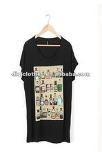 fashion women's black t shirt made in china
