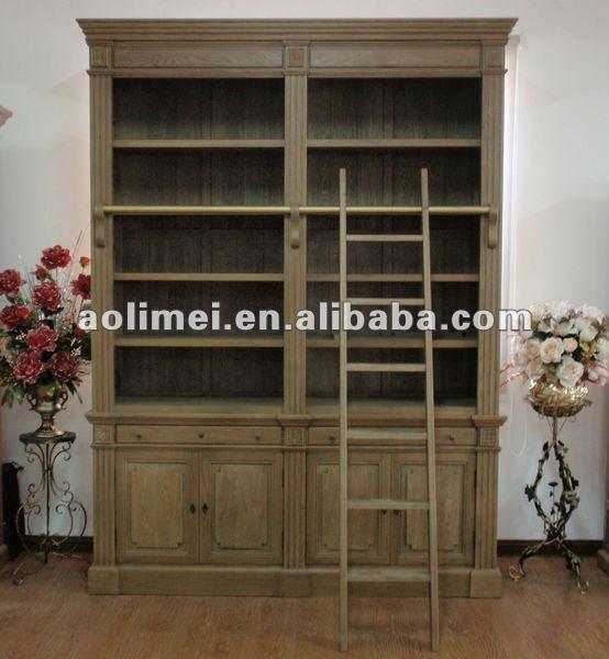 Antique biblioth que avec chelle meubles en bois id du - Meuble bibliotheque avec echelle ...