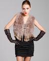 Cx-g-b-79b veste moda de penas de peru com colete de pele de coelho e borlas