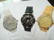 2014 vogue Chronograph Silicone Japan Quartz Watch lady hidden camera watch