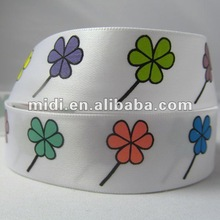 2012 newest satin Polyester leaf Print Ribbon