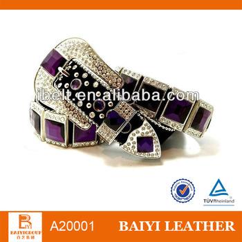 purple colore rhinestone bead belt for lady