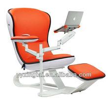 DEMNI Orange PU Leather lounge with laptop holder