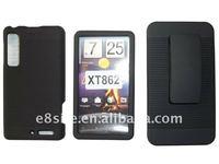Rubberized 2PCS Hard Snap On Case + Belt Clip + Kickstand For Motorola XT862