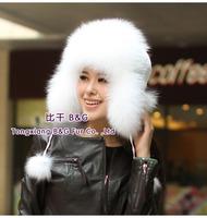 BG5667 Fashion Winter Genuine Fox Fur Animal Hat with earflaps