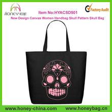 Fashion 2014 New Design Canvas Women Handbag Skull Pattern Black Handbag