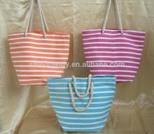 Fashion striped paper straw beach bag, Summer beach straw tote bag
