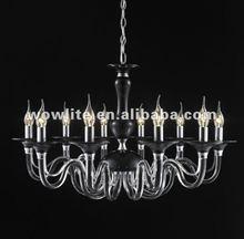 Modern black glass tube chandelier D1416-10BL