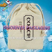 recycled promotional printed 100% natural cotton plain cotton drawstring shoe bag