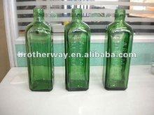 750ml squqre green aromatic schnapps glass bottle