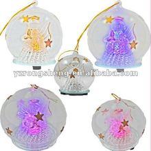 Hanging Glass LED Christmas Angel Decoration