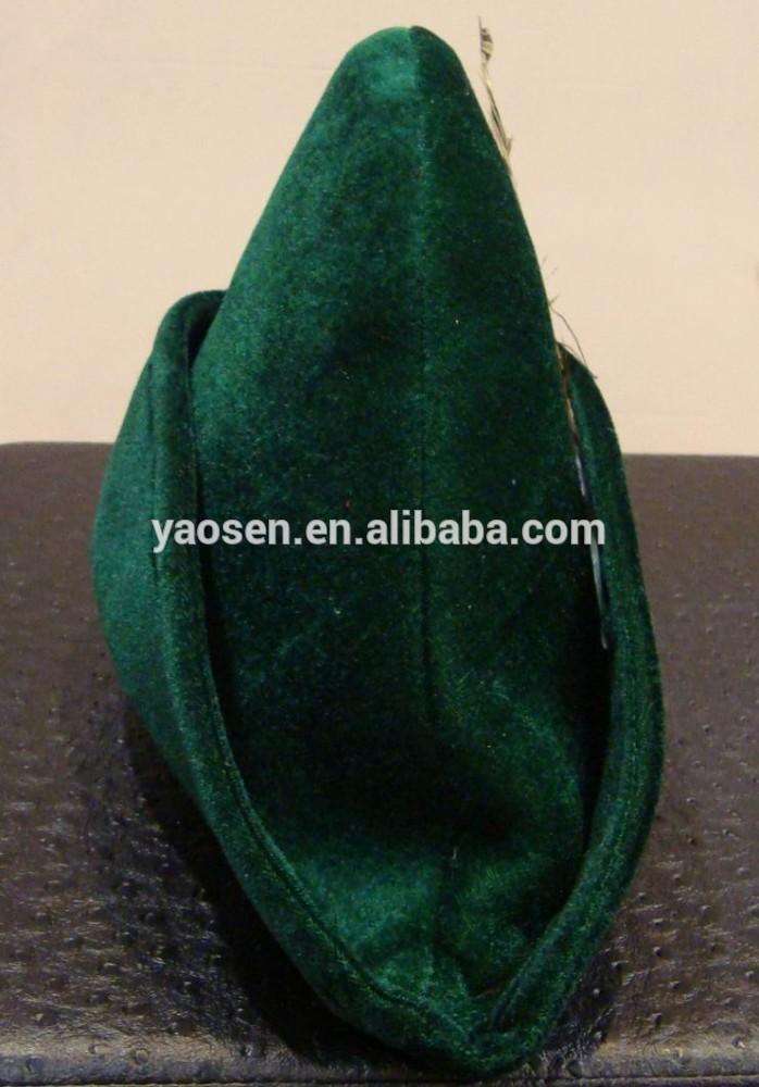 bambini Robin Hood Peter Pan cappello in verde scuro con decorazioni di piume