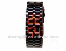 2015 hot lava style led iron watches brand watch samurai LED watch red &blue light women&men style