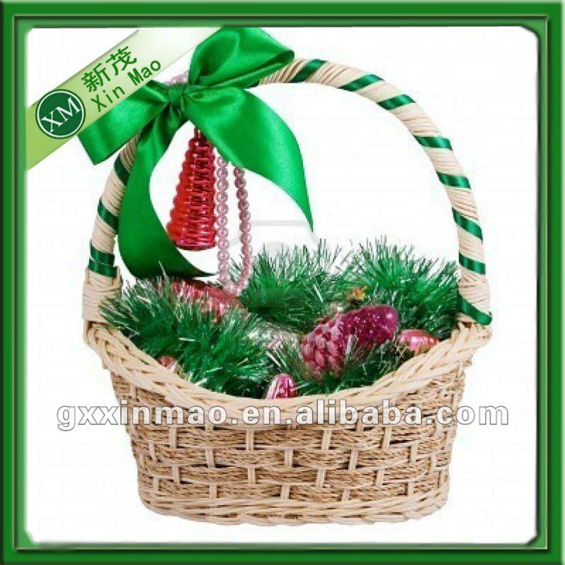 Como decorar canastas de navidad - Como decorar una cesta de mimbre ...