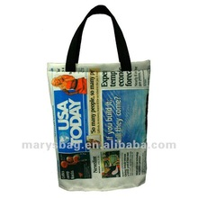 polyester newspaper bag with polywebbing handles and an open bottom with webbing bridge
