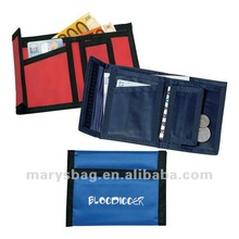 Nylon ripper wallet with velcro fastening and integrated purse