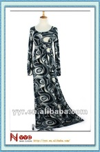 2013 New design long sleeve color printed dubai abaya