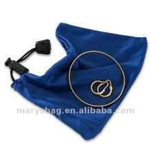 Mini Microfiber Silken drawstring jewelry bag with locking toggle