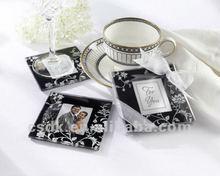 Fashion Black Photo Frame Glass Cup Mats wedding favor