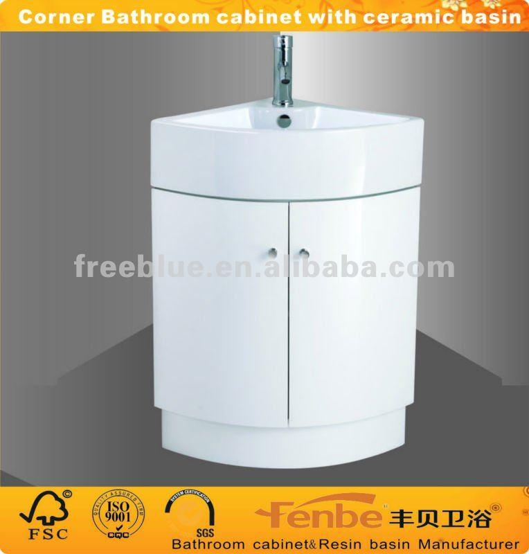 Coin salle de bains meubles avec bassin en c ramique for Meuble en coin salle de bain