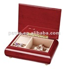 small red wooden music box high gloss finish