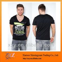 Fashion Black Men V-neck Sexy Printed T-shirt with Custom Logo
