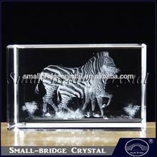 Hot Sale Land Animals Zebra 3d Laser Crystal Crafts