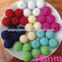 2014 Hot Sale! Multicoloured Fashion cheap loose shamballa beads!!20MM Rhinestone resin ball beads!!