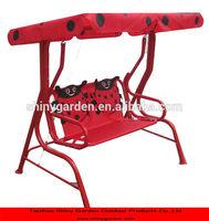 2 seat cute metal steel garden swing chair for child