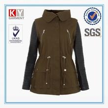 new european style leather sleeve women fashion coats 2015