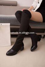 Tys052 cina commercio all'ingrosso/dettaglio pu cuoio woemen fashion boot scarpe 2014 kinky boots cavaliere stile per signore nero