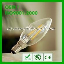 CE RoHS E14 Led 2W. Glass Cover LED filament Bulb