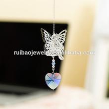 Hot Sale Butterfly Girl Heart Craft For Gift Crystal pendant , Suncatcher