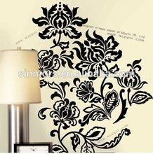 Black flowers waterproof pvc wallpaper room decor embellishment art 3d bedroom wall stickers