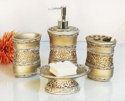 4PCS Set Bath Accessories/Popular Golden polyresin Bathroom set