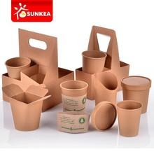 Disposable custom printed hot coffee / tea kraft paper cup
