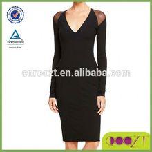 Wholesale autumn fancy elegant women winter casual slim fit mesh shoulder dress long sleeve