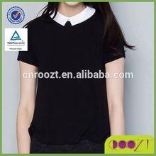 summer ladies clothes 100% cotton short sleeve school blouses fashion design woman t shirt