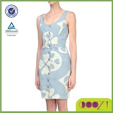Round Collar Button Closing Five Pockets Unlined Faded Effect Two tone pattern Sleeveless Latest Dress Designs