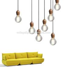 Hot Sell Modern New Design Edison Bulb With Wooden Lamoholder Pendant Lighting
