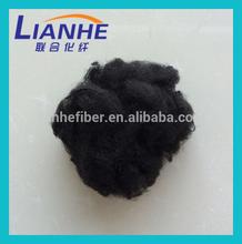 solid black color polyester staple fiber / pet bottles recycle polyester staple fiber