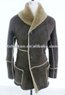 2012 newest ladies leatther overcoat with fur collar