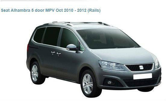 car rack whispbar for Seat Alhambra 5 door MPV Oct 2010 - 2012 (Rails)